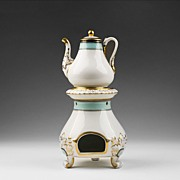 Old Paris Porcelain 19th C. Veilleuse with Warming Stand