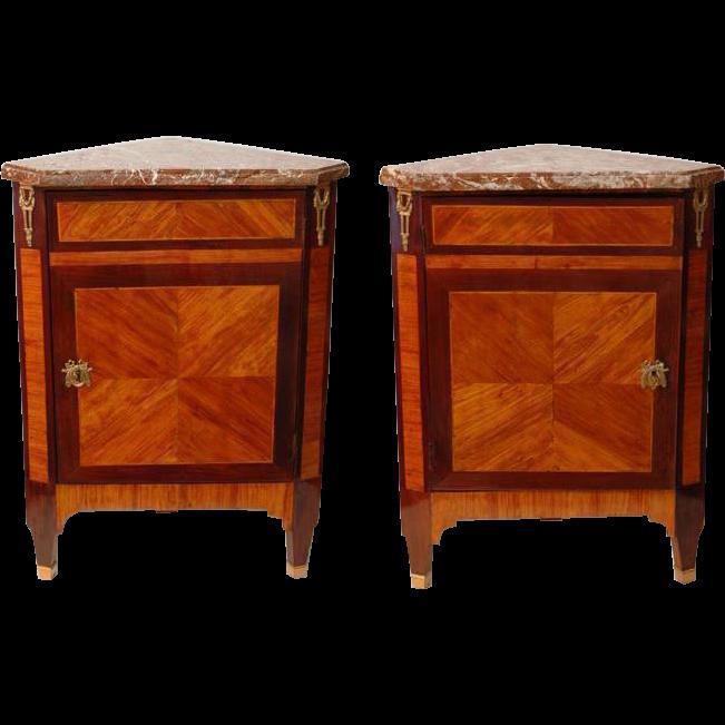 Pair of 18th C. Louis XVI  Corner Cabinets or Encoignures