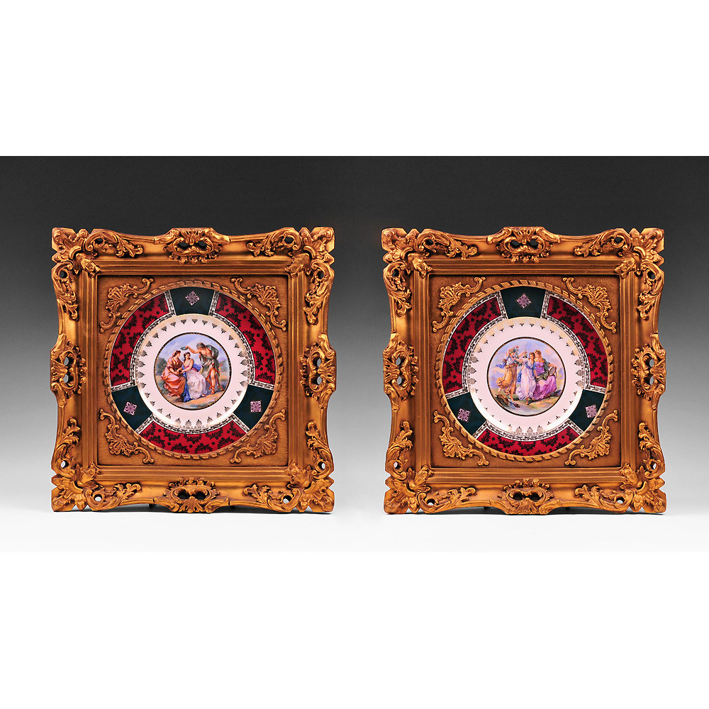 Pair of Royal Vienna Style Bavarian Plates Inset in Gilded Frames