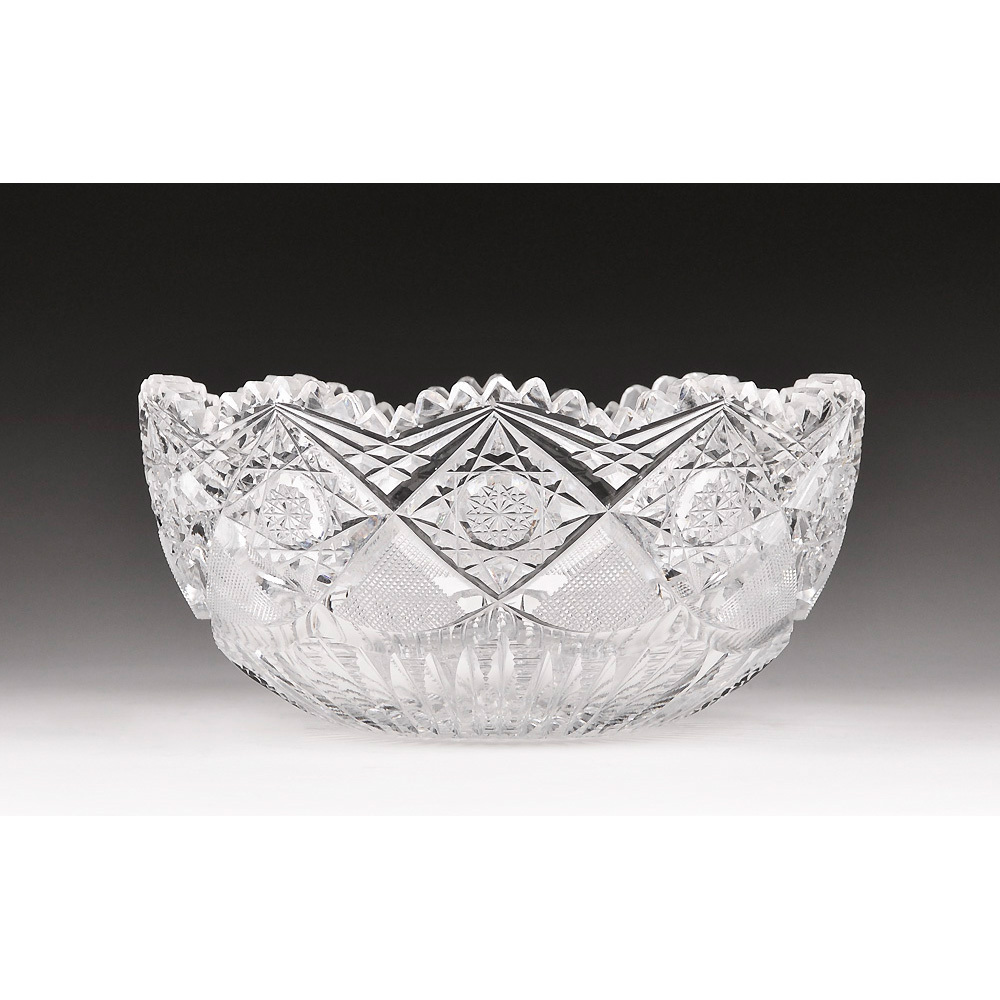 American Brilliant Cut Glass Bowl, Signed Hoare