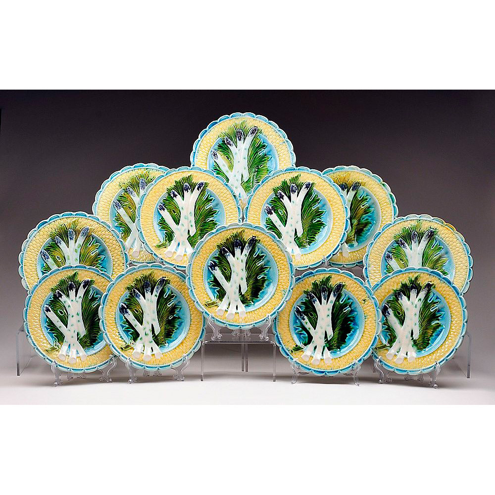 Rare Set of 12 Keller and Guerin Luneville Barbotine Asparagus Plates
