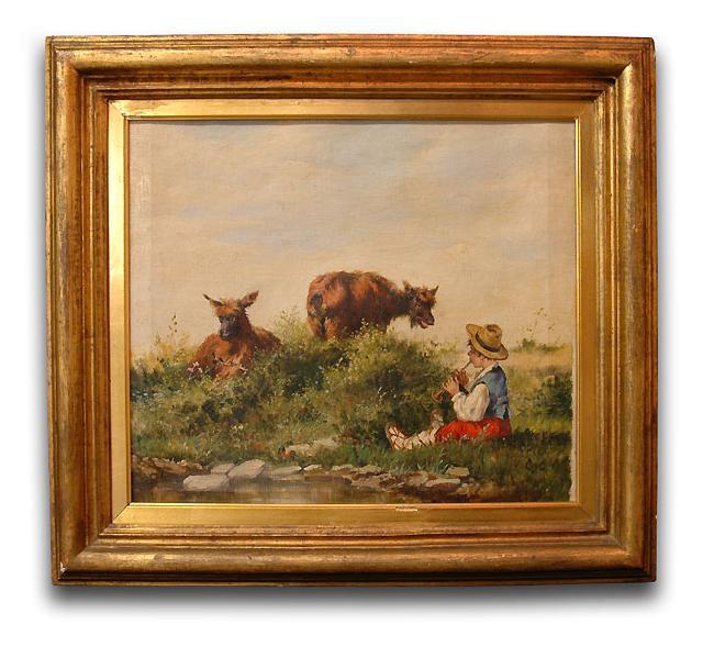 Luigi Chialiva Oil on Canvas of Shepherd with Goats