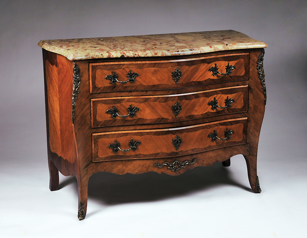 19th C. Louis XV Marble Top Commode With Bronze Mounts