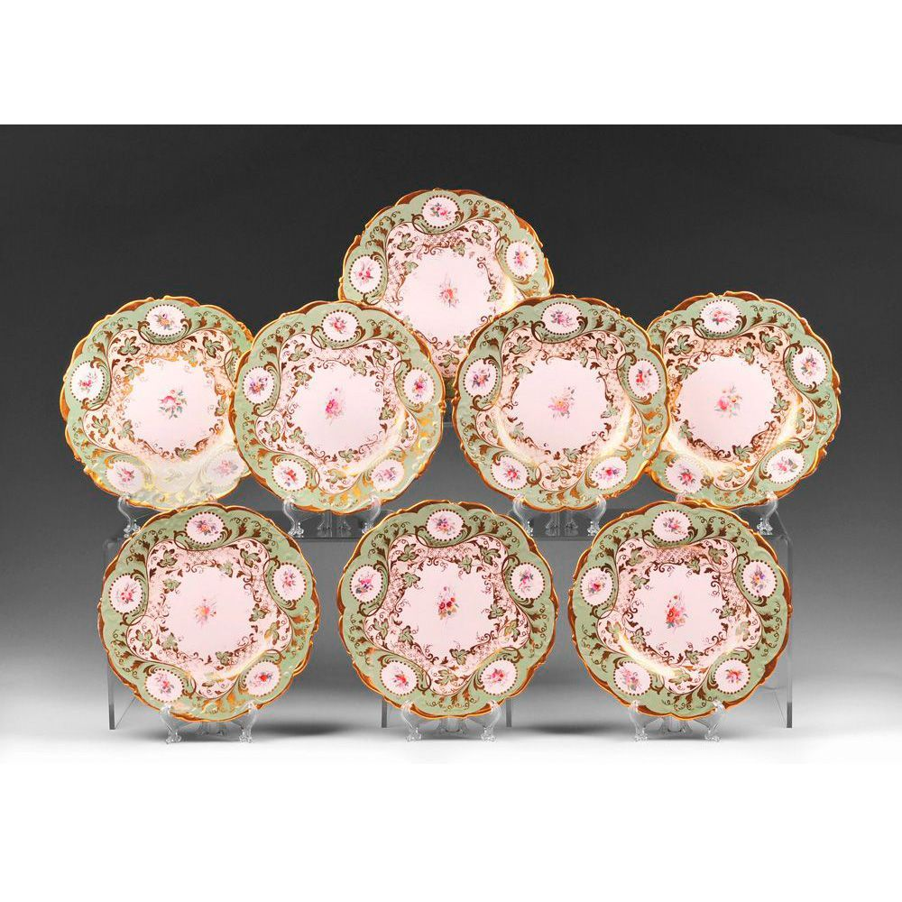 1830-50 Set of 8 English Hand Painted Dessert Plates