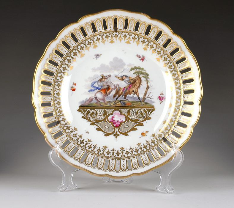 19th C. Meyers & Son Hand Painted Reticulated Cabinet Plate
