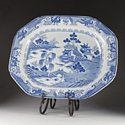 Large Mason's Ironstone Meat Platter 1813-25, Turners Willow