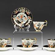 Set of Four Japan Pattern Coalport Tea Cups & Saucers