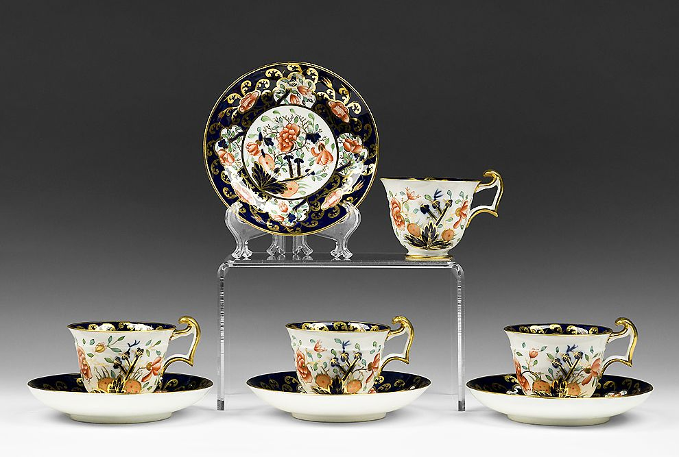 Set of Four Japan Pattern Coalport Tea Cups & Saucers