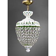 Bohemian Green Glass Cut Overlay Chandelier