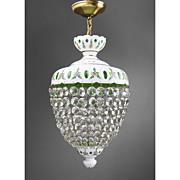 Bohemian Green Glass Cut Overlay Chandelier