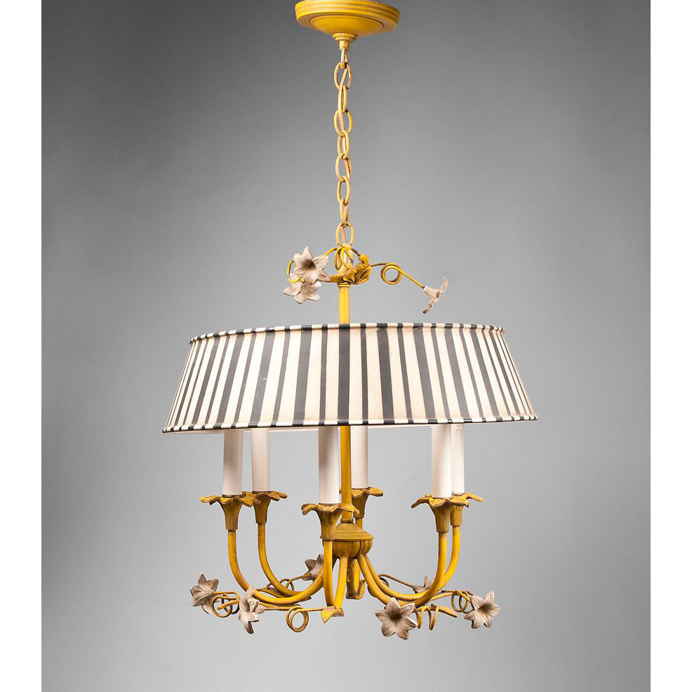 Italian Tole Chandelier With Striped Shade