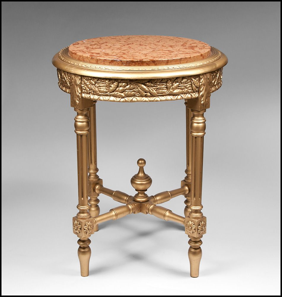 French Second Empire Gilded Gueridon Or Side Table With Inset Marble Top