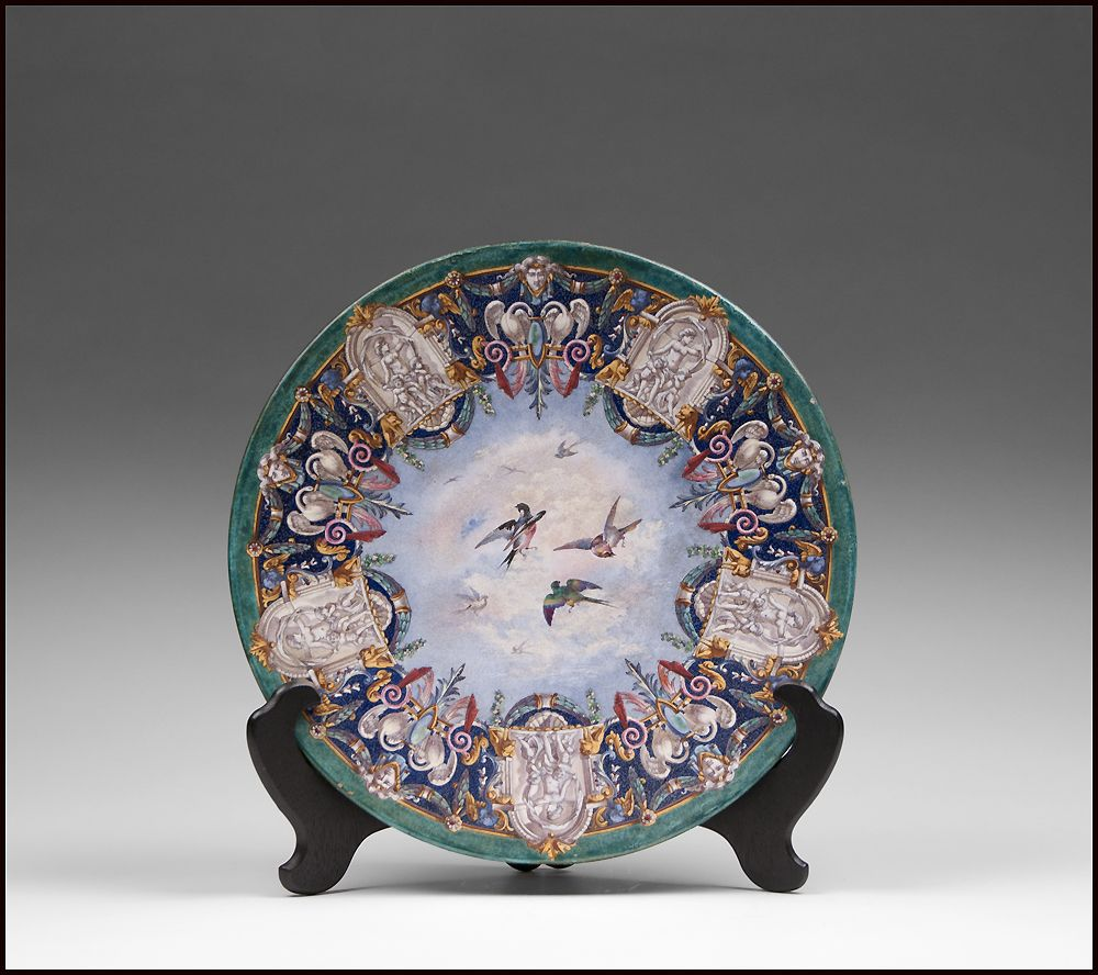 19th Century Continental Earthenware Enamel Decorated Charger
