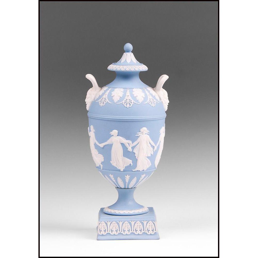 1899 Blue Jasper Dip Wedgwood Urn, Dancing Hours