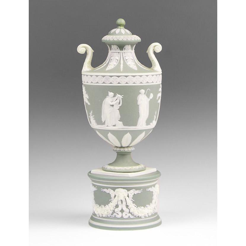 1894 Green Jasper Dip Wedgwood Urn, Allegorical Scenes