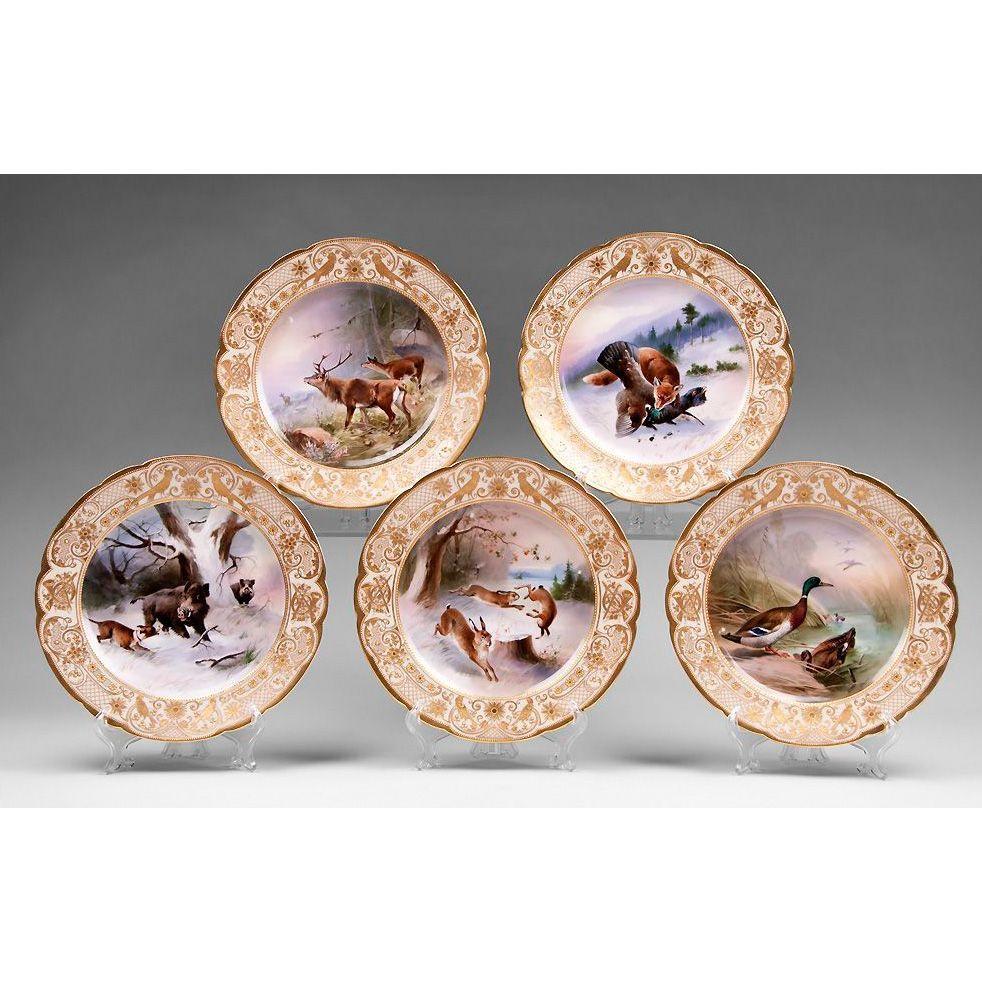 Set of Five Ambrosius Lamm Dresden Cabinet Plates, Hunt Scenes
