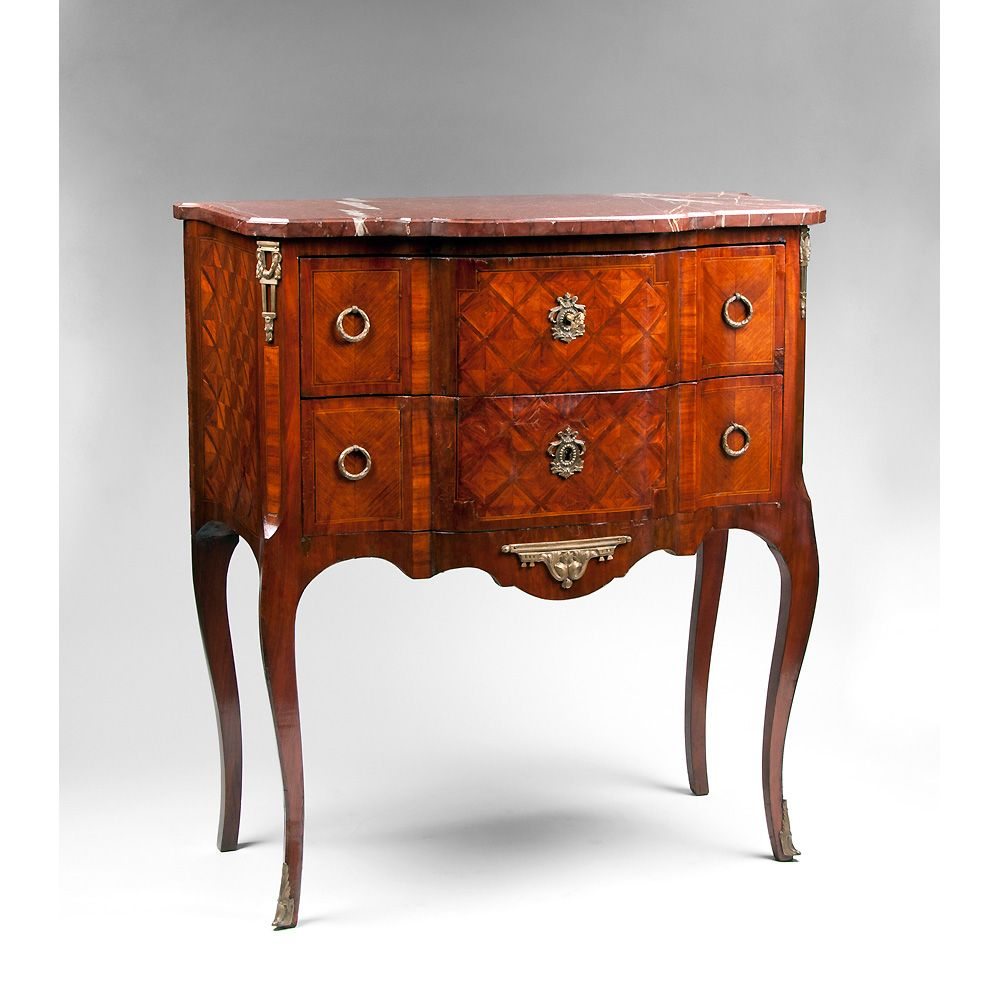 19th c louis xv petite marquetry commode marble top from piatik on ruby lane. Black Bedroom Furniture Sets. Home Design Ideas