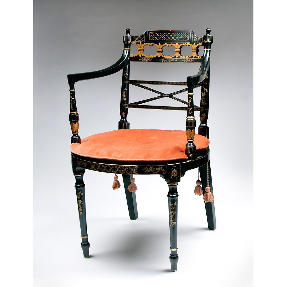 Vintage Baker Japonaise Lacquered Armchair With Cane Seat