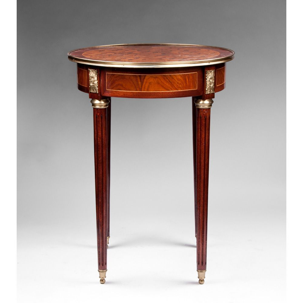 french louis xvi style gueridon table or stand with parquetry top from rubylane sold on ruby lane. Black Bedroom Furniture Sets. Home Design Ideas