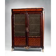 Late 19th C. Louis XV Kingwood Parquetry Bibliotheque or Bookcase