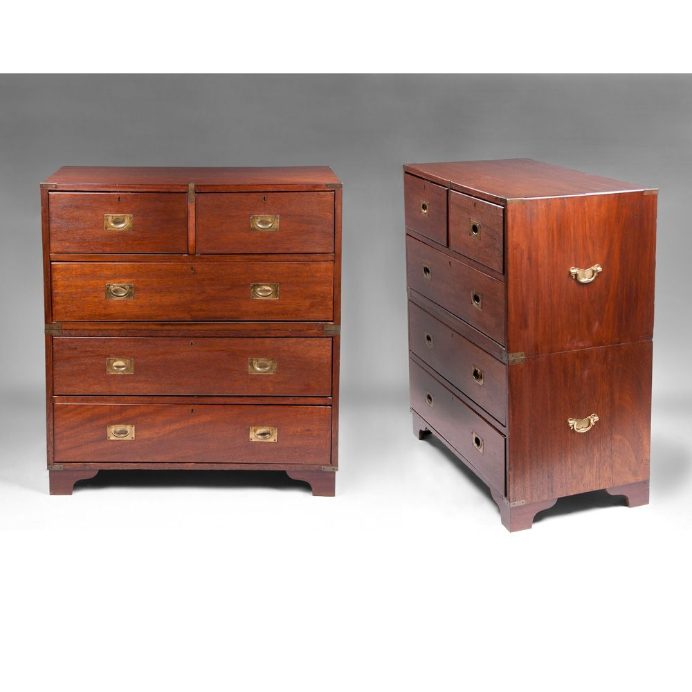 Pr. of Early 20th C. Double Stacked Campaign Style Chests