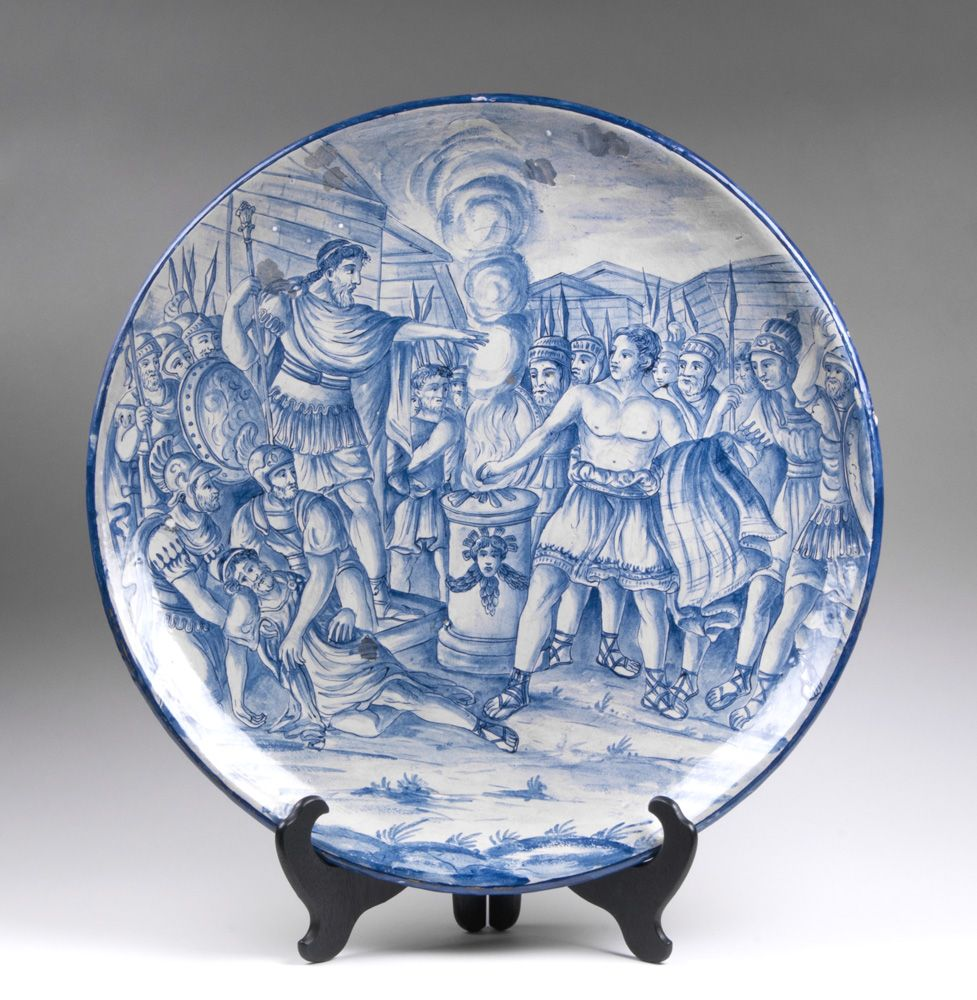19th C. Italian Istoriato Cobalt Blue Decorated Charger