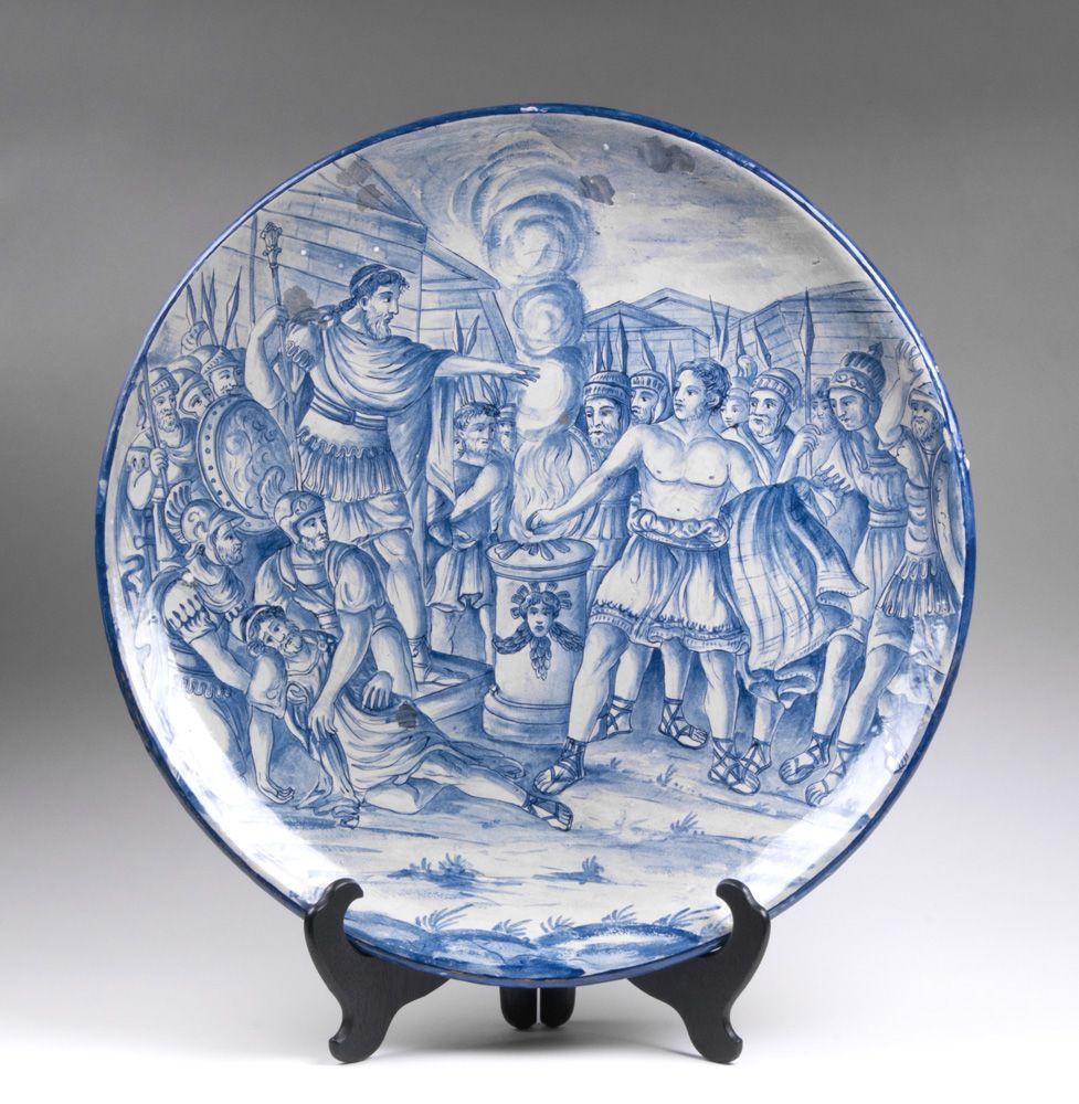 19th C. Italian Istoriato Cobalt Blue Decorated Charger