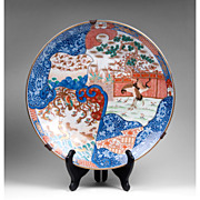 Edo Period Japanese Imari Charger With Cranes