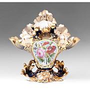 Vieux Paris Porcelain Rococo Revival Cobalt Vase, 1860