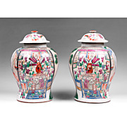 Pair of Yongzheng Style 19th C. Chinese Export Famille Rose Temple Jars