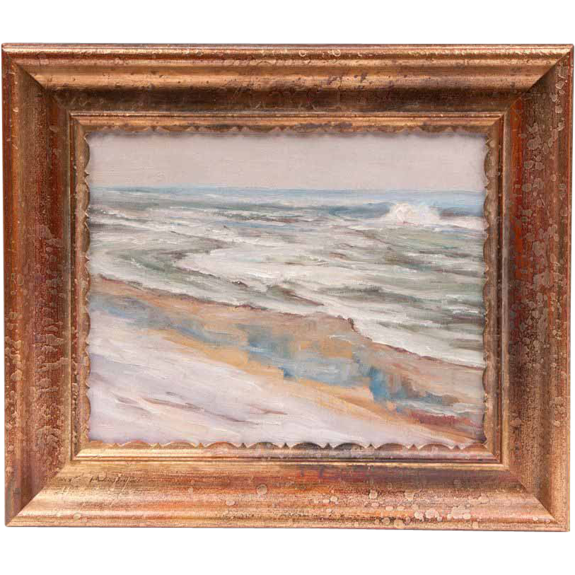 Walter Emerson Baum Oil On Board, Beach At Barnegat