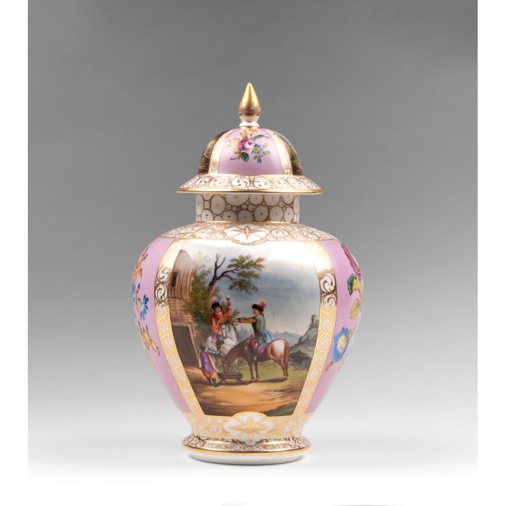 19th C Dresden Helena Wolfsohn Vase With Cover Pia S