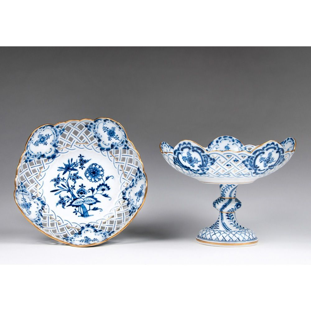 Pair of Meissen Blue Onion Gilded Pierced Compotes