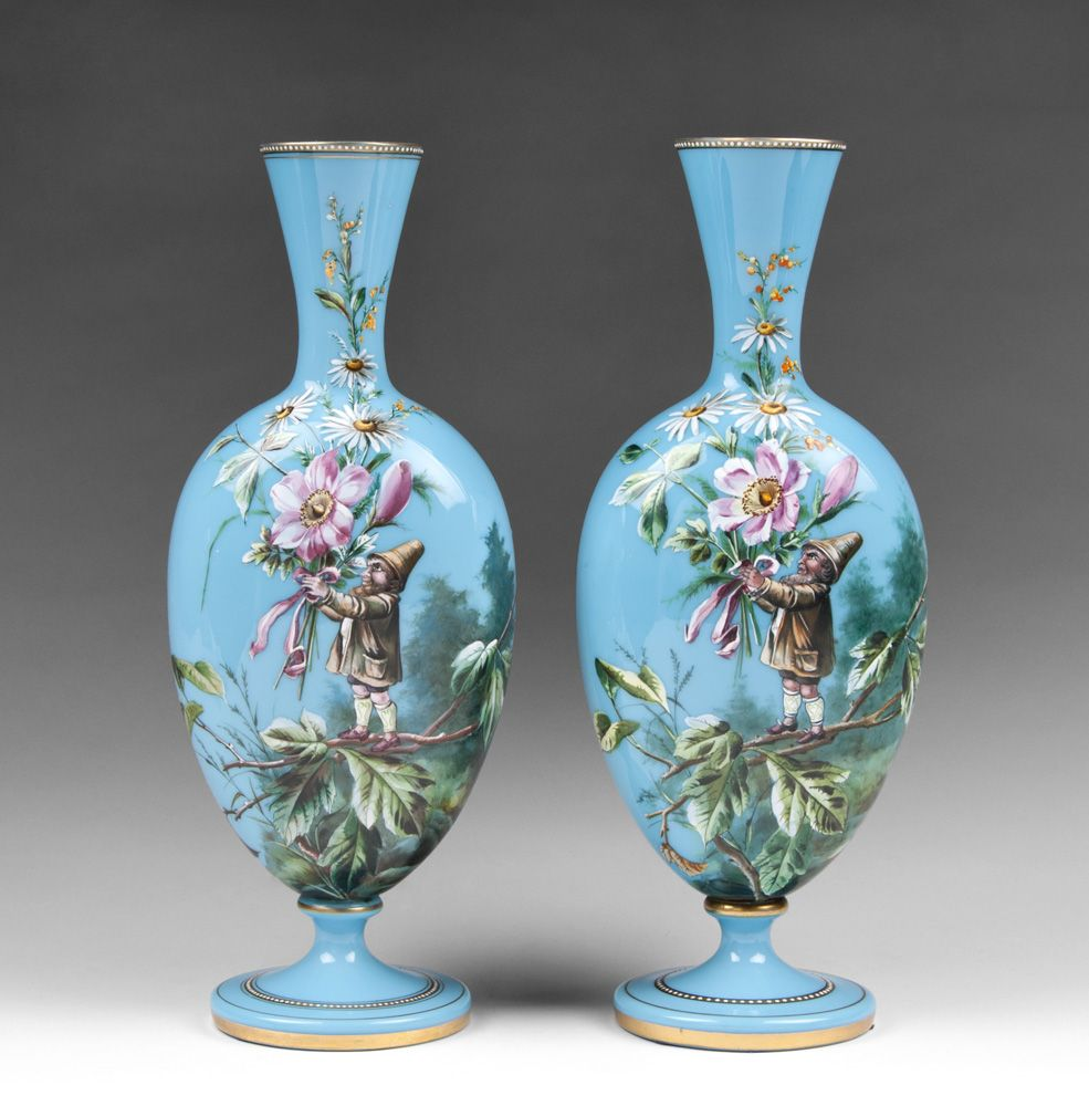 pair of harrach bohemian opaline glass enamel vases with gnomes from piatik on ruby lane. Black Bedroom Furniture Sets. Home Design Ideas