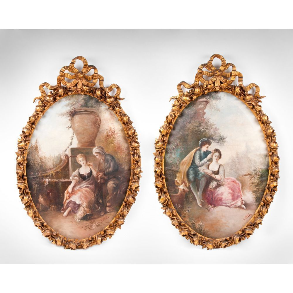 Pair of 19th C. Oil On Canvas Paintings by A. Dubois; Elaborate Frames