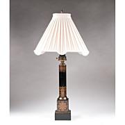 Vintage Tole Peinte Column Lamp