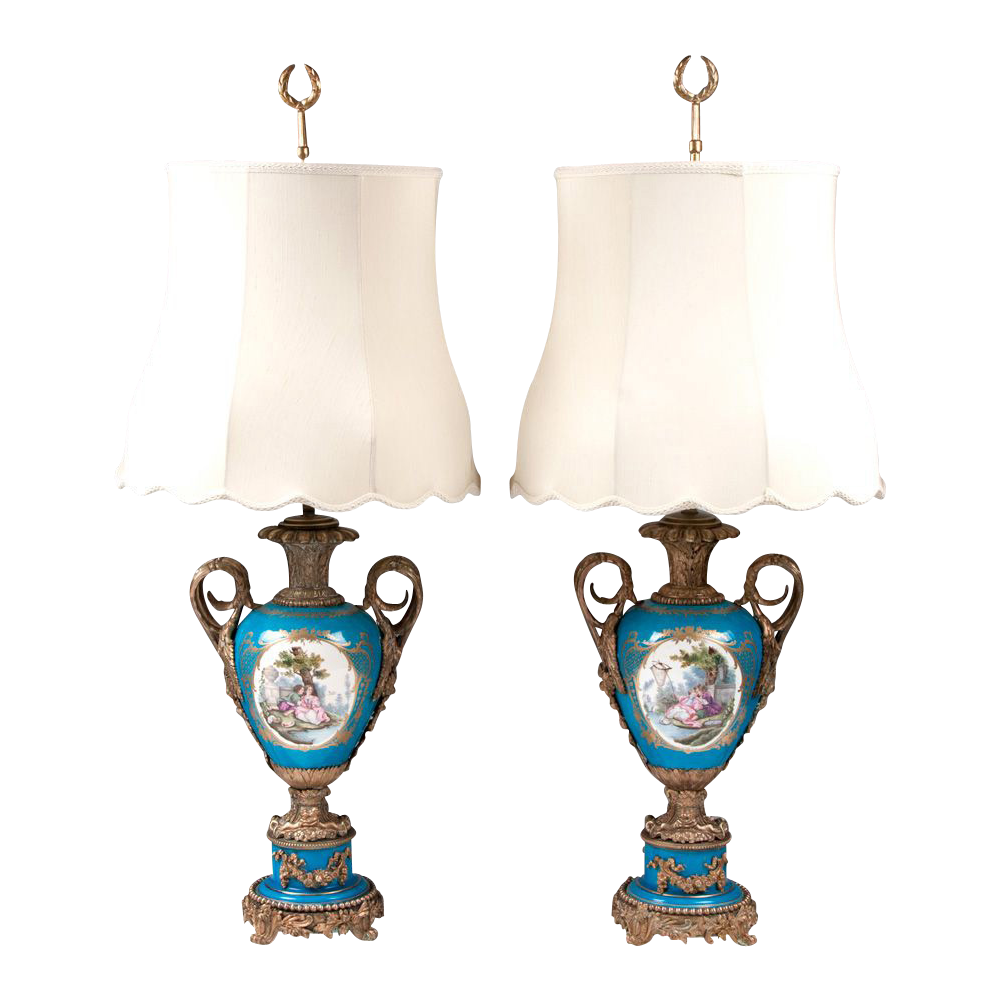 Paris Porcelain Hand Decorated Vase Fitted For Lamp Pia: Pair Of Bleu Celeste French Sevres Porcelain Lamps Mounted