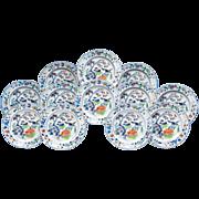 Set of Twelve Davenport Plates, Pattern Number 6 Color, 1845