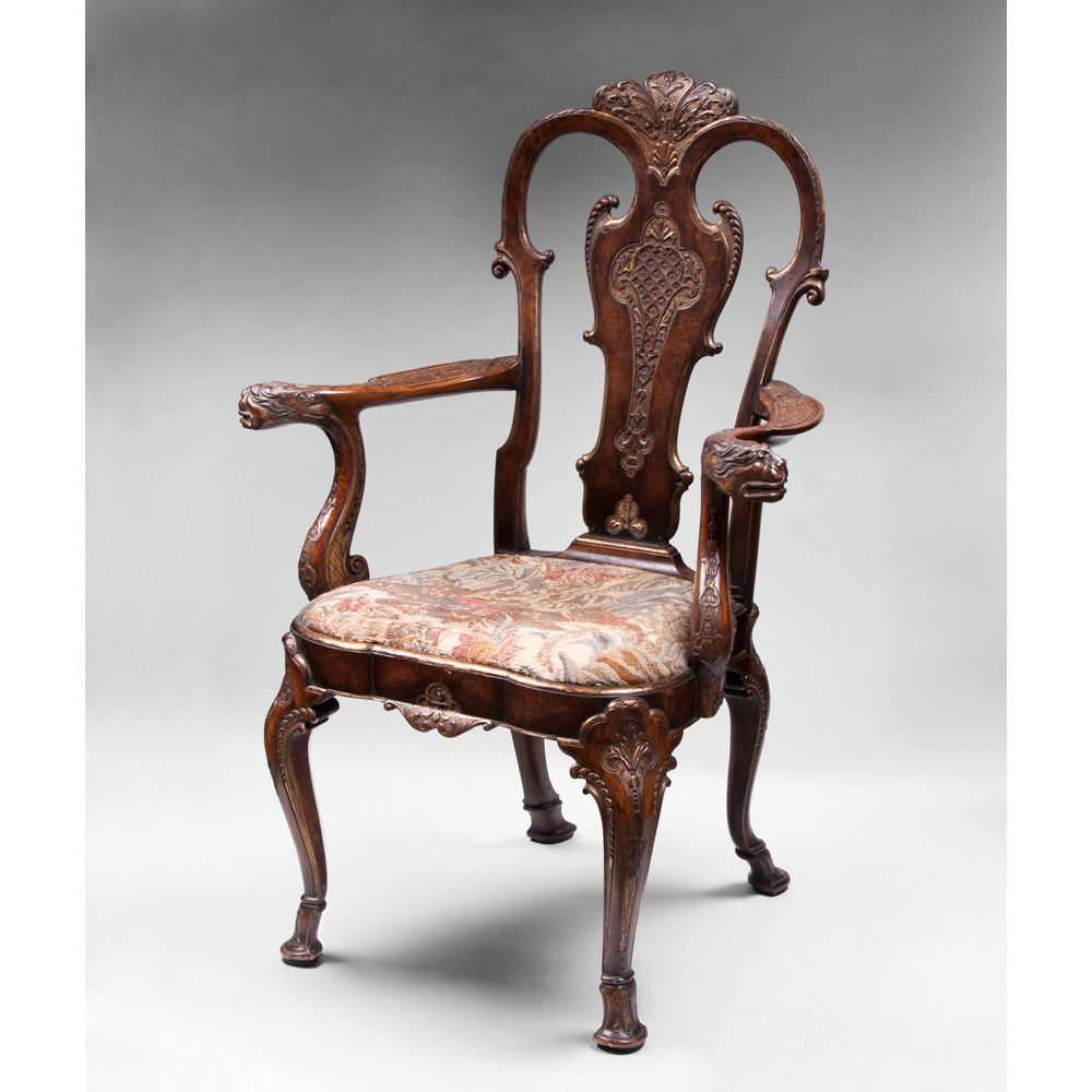 Late 19th C. Irish Georgian Style Carved Armchair, Chippendale Manner