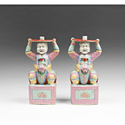 Pr. of 19th C. Famille Rose Chinese Export Figural Joss Stick Holders