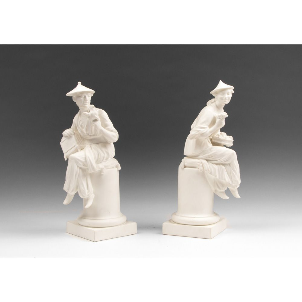 Pair of Royal Worcester Parian Figurines Of Le Panier And L'Oiseau