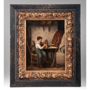 19th C. Oil On Wood of Boy With Puppy, Franz Von Defregger