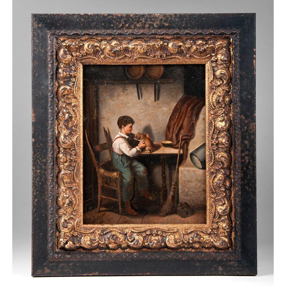 19th C. Oil On Wood of Boy With Puppy, Franz Von Defregger