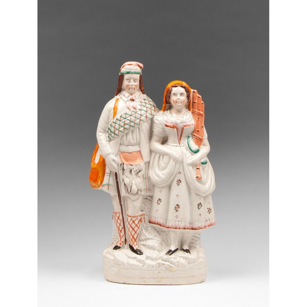 Large Mid 19th C. Stafforshire Flat Back Scottish Couple, Standing