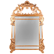 Mid 20th C. Carved Italian Mirror Crested Frame