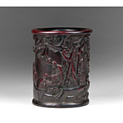 19th Century Chinese Carved Resin Brush Pot
