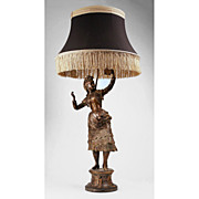 19th C. French Bronze Patinated Spelter Gypsy Dancer Fitted As Lamp