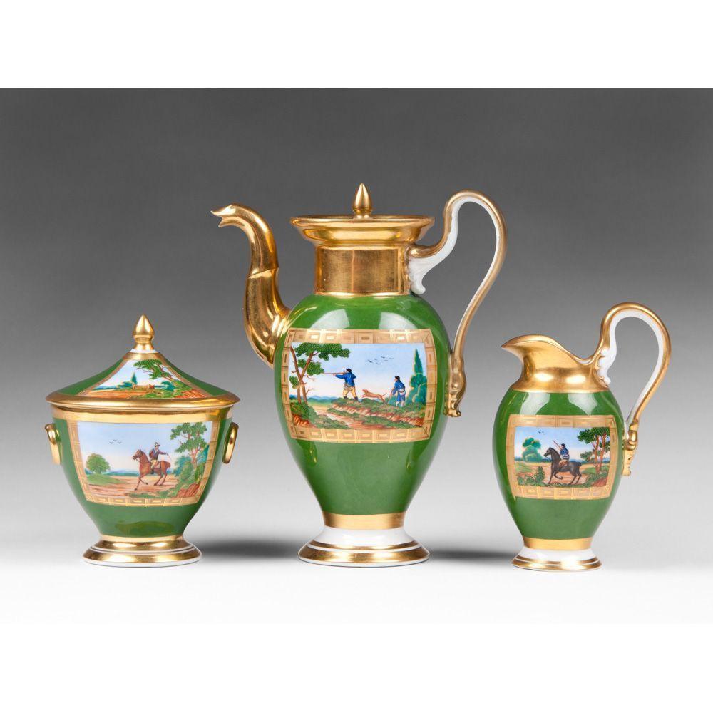 19th C. Nymphenburg Porcelain Vignette Painted 3 Piece Tea Set