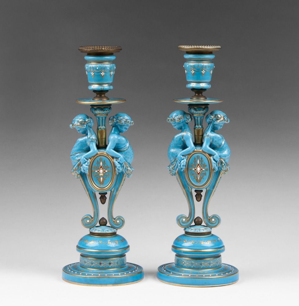 Pair of French Sevres Style Turquoise Glazed Candlesticks