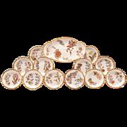 Rare Blush Ivory Royal Worcester 13 Piece Ice Cream Set, 1888